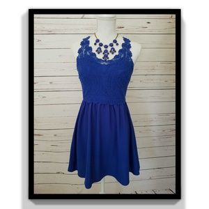 H &M Lace Dress W/See-through Back- Blue Size 8